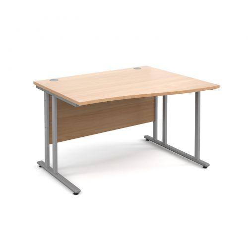Maestro 25 SL right hand wave desk 1200mm - silver cantilever frame and beech top