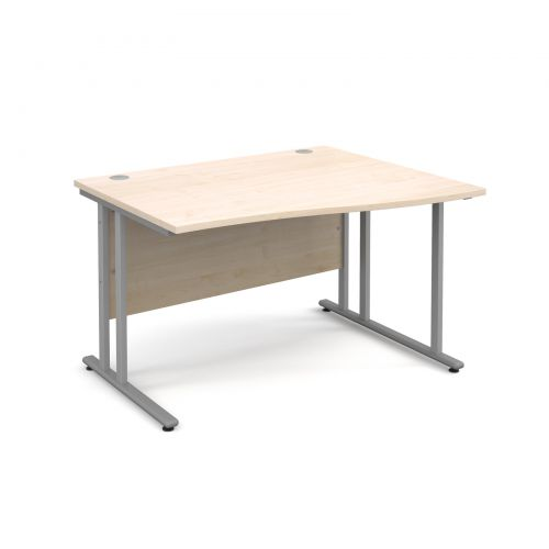 Maestro 25 SL right hand wave desk 1200mm - silver cantilever frame and maple top
