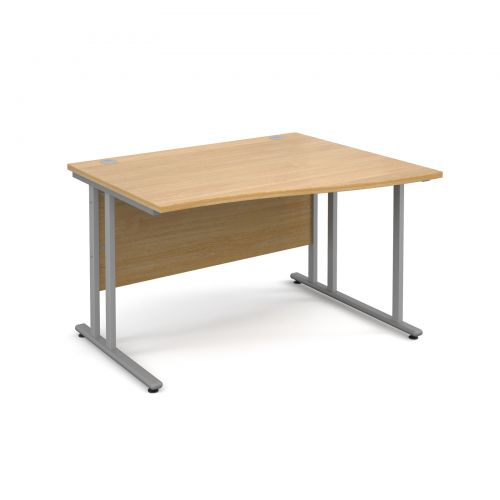 Maestro 25 SL right hand wave desk 1200mm - silver cantilever frame, oak top