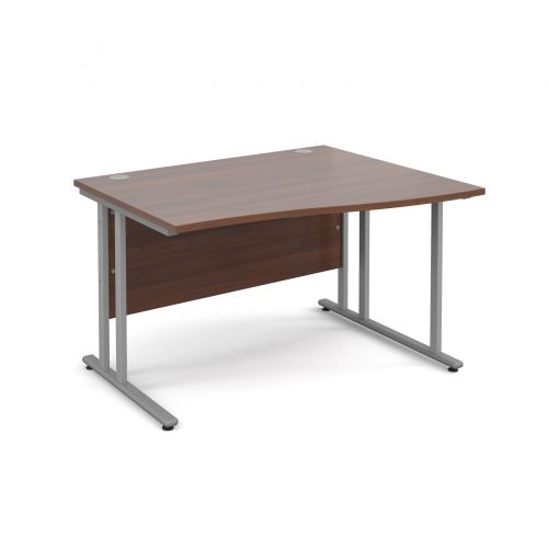 Maestro 25 SL right hand wave desk 1200mm - silver cantilever frame, walnut top
