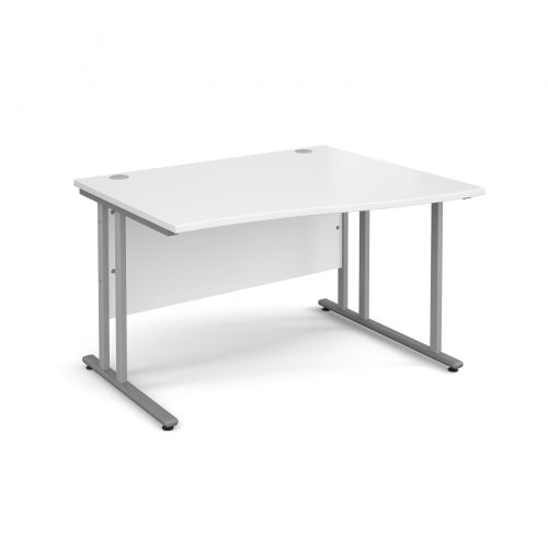 Maestro 25 SL right hand wave desk 1200mm - silver cantilever frame, white top
