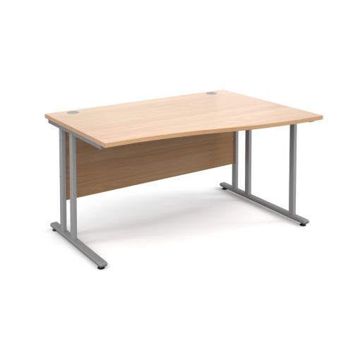 Maestro 25 SL right hand wave desk 1400mm - silver cantilever frame, beech top