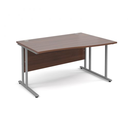 Maestro 25 SL right hand wave desk 1400mm - silver cantilever frame and walnut top