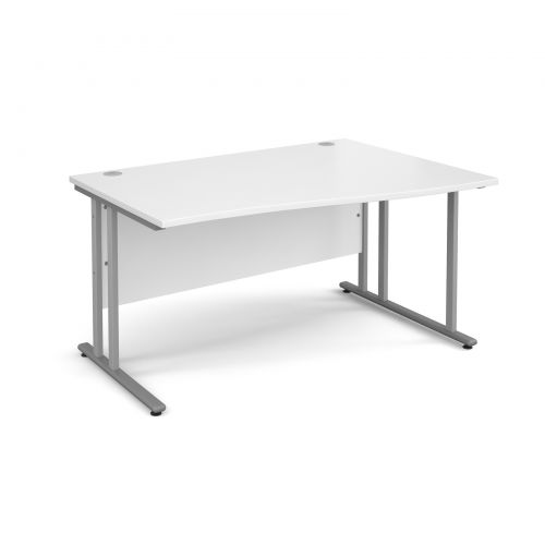 Maestro 25 SL right hand wave desk 1400mm - silver cantilever frame, white top