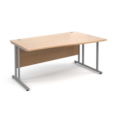 Maestro 25 SL right hand wave desk 1600mm - silver cantilever frame and beech top