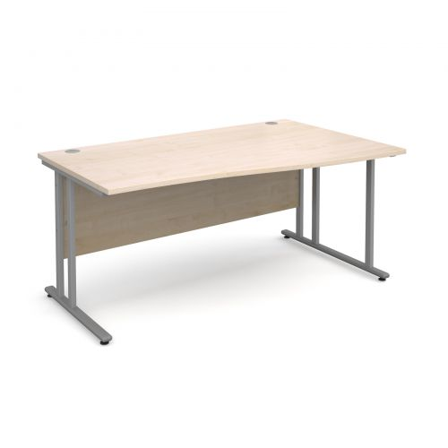 Maestro 25 SL right hand wave desk 1600mm - silver cantilever frame, maple top