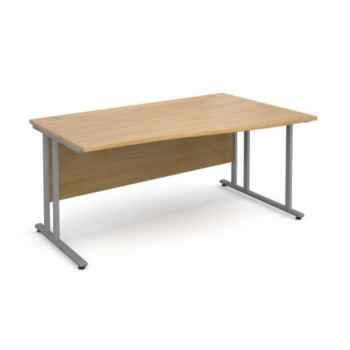 Maestro 25 SL right hand wave desk 1600mm - silver cantilever frame, oak top