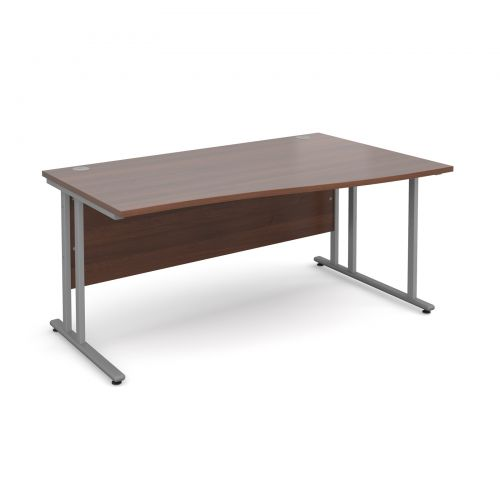 Maestro 25 SL right hand wave desk 1600mm - silver cantilever frame, walnut top