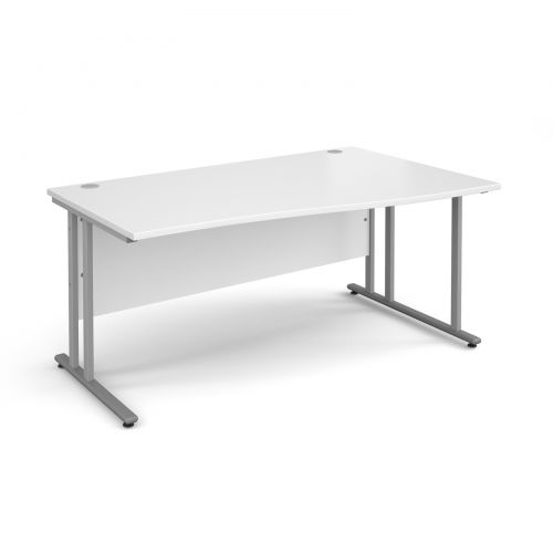 Maestro 25 SL right hand wave desk 1600mm - silver cantilever frame, white top