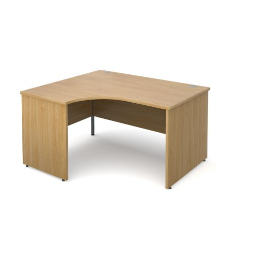 Maestro 25 PL left hand ergonomic desk 1400mm - oak panel leg design