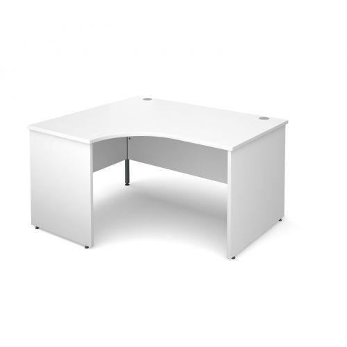 Maestro 25 PL left hand ergonomic desk 1400mm - white panel leg design