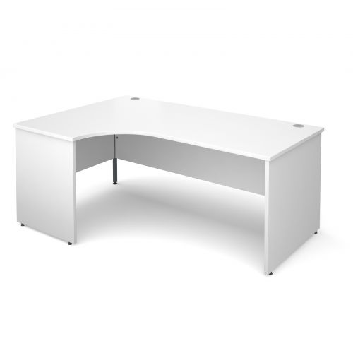 Maestro 25 PL left hand ergonomic desk 1800mm - white panel leg design