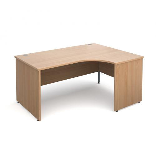 Maestro 25 PL right hand ergonomic desk 1600mm - beech panel leg design