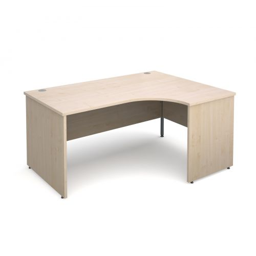 Maestro 25 PL right hand ergonomic desk 1600mm - maple panel leg design