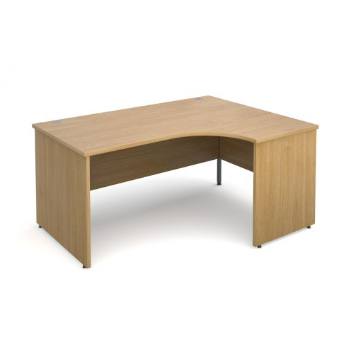 Maestro 25 PL right hand ergonomic desk 1600mm - oak panel leg design