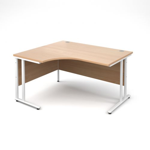Maestro 25 WL left hand ergonomic desk 1400mm - white cantilever frame, beech top