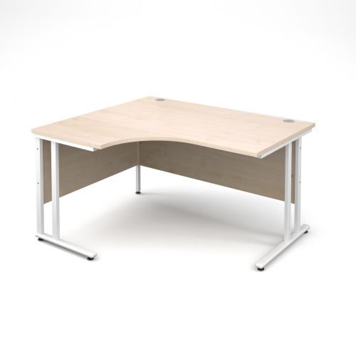 Maestro 25 WL left hand ergonomic desk 1400mm - white cantilever frame and maple top