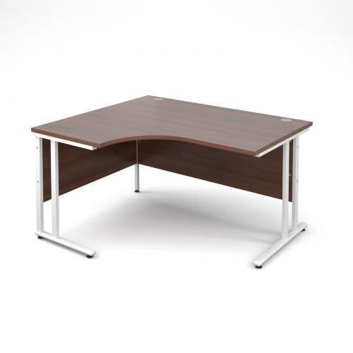 Maestro 25 WL left hand ergonomic desk 1400mm - white cantilever frame and walnut top