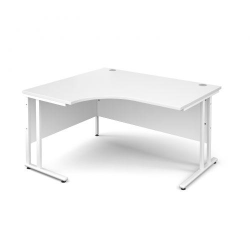Maestro 25 WL left hand ergonomic desk 1400mm - white cantilever frame, white top