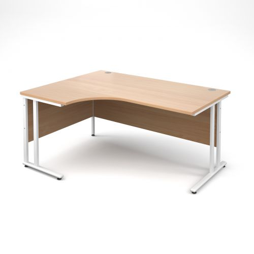 Maestro 25 WL left hand ergonomic desk 1600mm - white cantilever frame, beech top