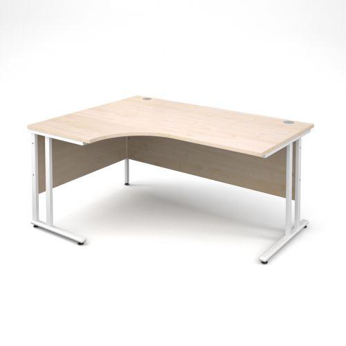 Maestro 25 WL left hand ergonomic desk 1600mm - white cantilever frame, maple top
