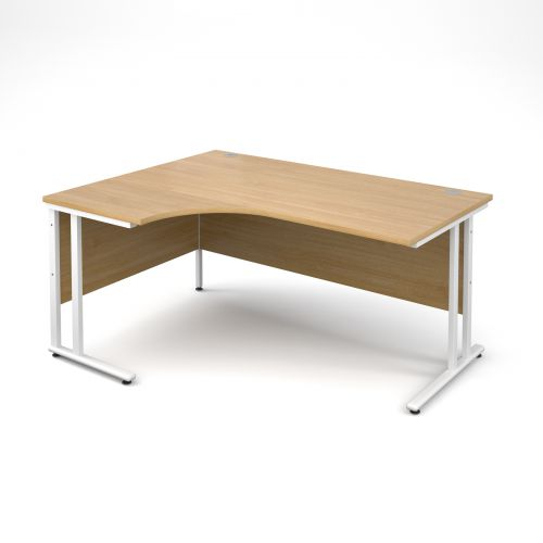 Maestro 25 WL left hand ergonomic desk 1600mm - white cantilever frame, oak top