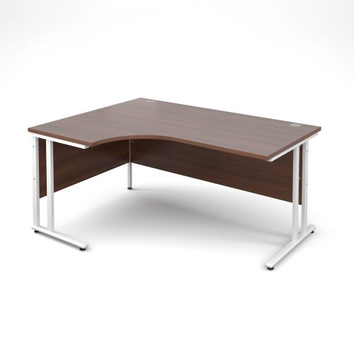 Maestro 25 WL left hand ergonomic desk 1600mm - white cantilever frame and walnut top