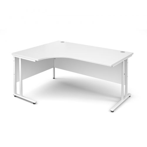 Maestro 25 WL left hand ergonomic desk 1600mm - white cantilever frame and white top