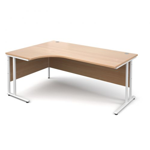 Maestro 25 WL left hand ergonomic desk 1800mm - white cantilever frame and beech top