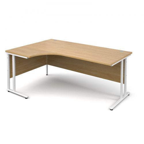 Maestro 25 WL left hand ergonomic desk 1800mm - white cantilever frame, oak top