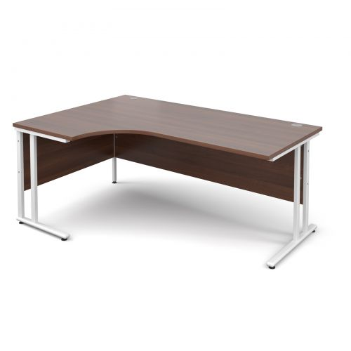 Maestro 25 WL left hand ergonomic desk 1800mm - white cantilever frame, walnut top