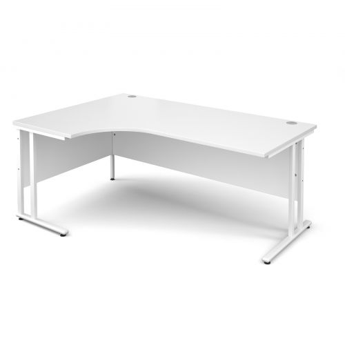 Maestro 25 WL left hand ergonomic desk 1800mm - white cantilever frame, white top