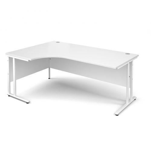 Maestro 25 WL left hand ergonomic desk 1800mm - white cantilever frame and white top