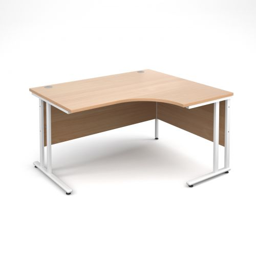 Maestro 25 WL right hand ergonomic desk 1400mm - white cantilever frame and beech top