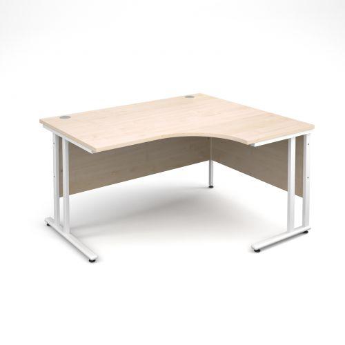 Maestro 25 WL right hand ergonomic desk 1400mm - white cantilever frame and maple top