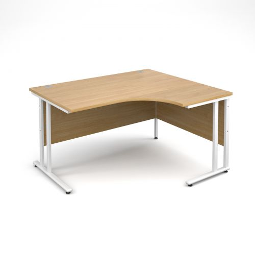 Maestro 25 WL right hand ergonomic desk 1400mm - white cantilever frame and oak top
