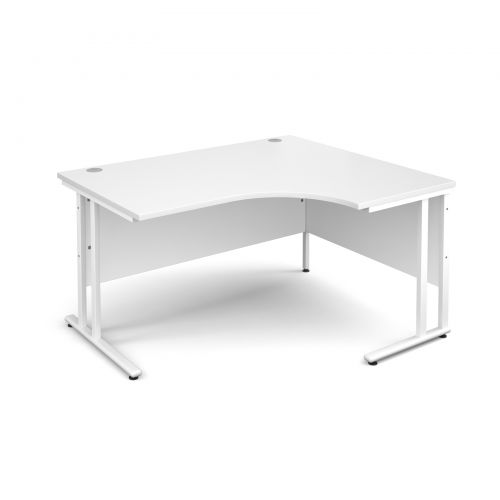 Maestro 25 WL right hand ergonomic desk 1400mm - white cantilever frame, white top