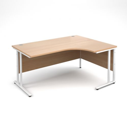 Maestro 25 WL right hand ergonomic desk 1600mm - white cantilever frame, beech top