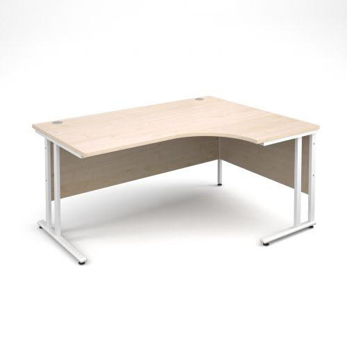 Maestro 25 WL right hand ergonomic desk 1600mm - white cantilever frame, maple top