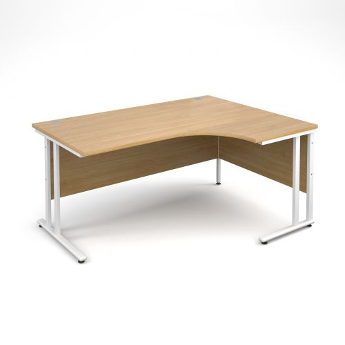 Maestro 25 WL right hand ergonomic desk 1600mm - white cantilever frame, oak top