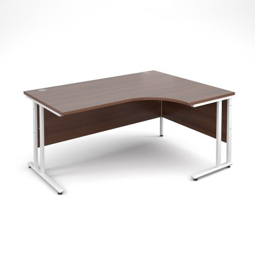 Maestro 25 WL right hand ergonomic desk 1600mm - white cantilever frame and walnut top