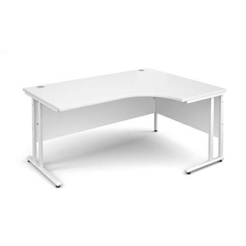 Maestro 25 WL right hand ergonomic desk 1600mm - white cantilever frame and white top
