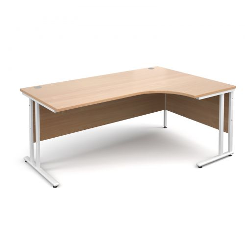 Maestro 25 WL right hand ergonomic desk 1800mm - white cantilever frame, beech top