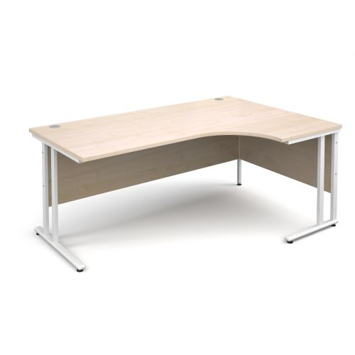 Maestro 25 WL right hand ergonomic desk 1800mm - white cantilever frame, maple top