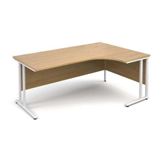 Maestro 25 WL right hand ergonomic desk 1800mm - white cantilever frame, oak top
