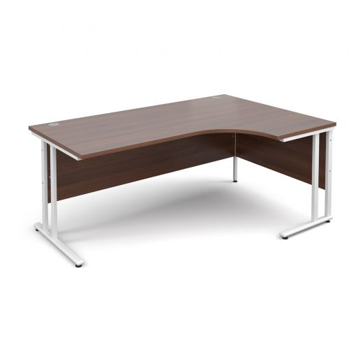 Maestro 25 WL right hand ergonomic desk 1800mm - white cantilever frame, walnut top