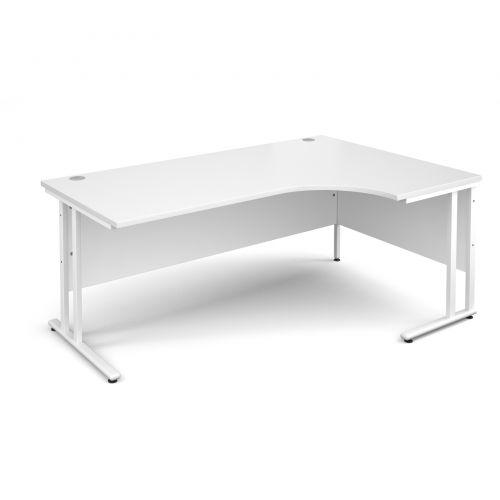 Maestro 25 WL right hand ergonomic desk 1800mm - white cantilever frame, white top