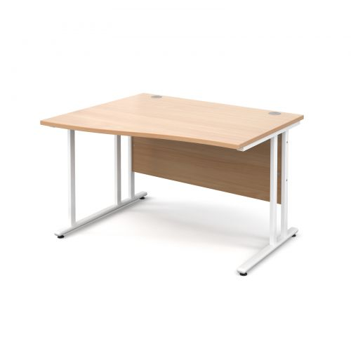 Maestro 25 WL left hand wave desk 1200mm - white cantilever frame and beech top