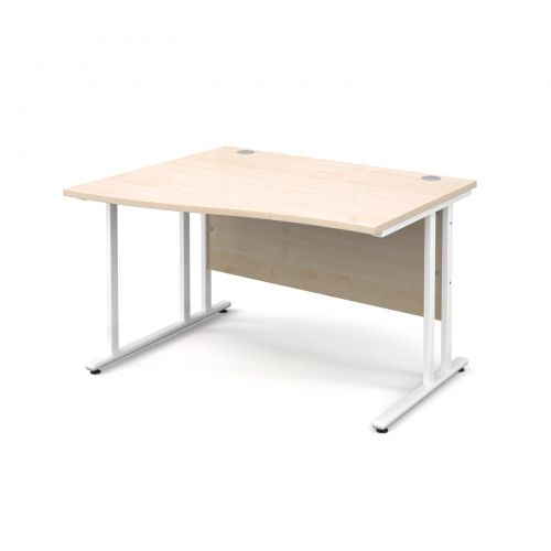 Maestro 25 WL left hand wave desk 1200mm - white cantilever frame, maple top