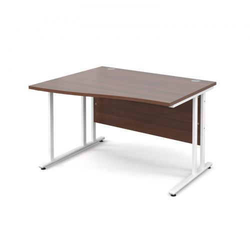 Maestro 25 WL left hand wave desk 1200mm - white cantilever frame, walnut top